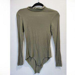Khaki Green Long Sleeve Turtleneck Bodysuit